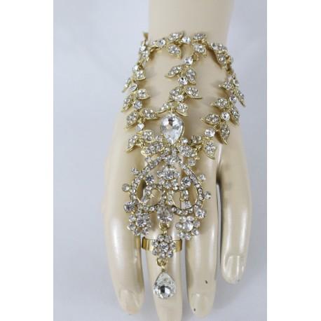 Parure de main turquoise en fleur plaqué or bijou oriental