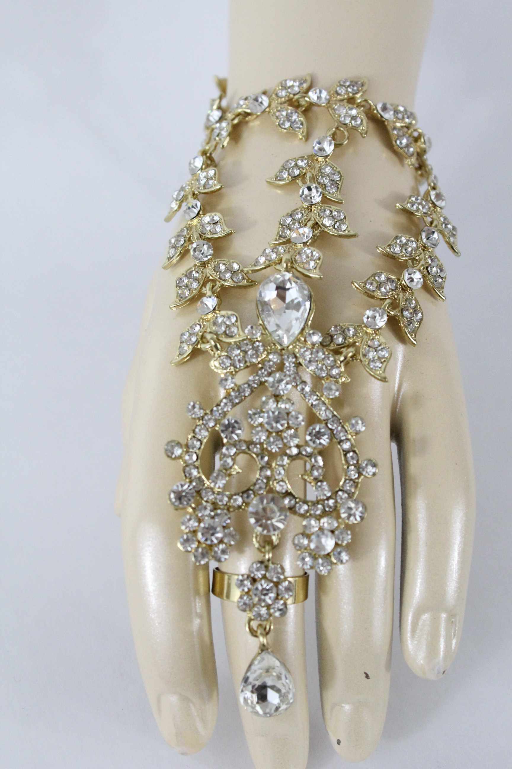 choisir le plus récent bonne réputation style à la mode Vente Bijou indien fleur parure de main - bracelet de bagues ...