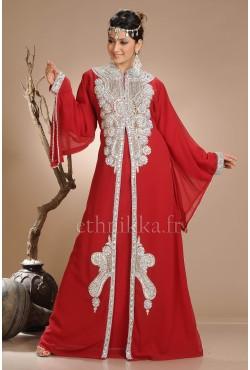 Robe dubaï rouge perles argentées