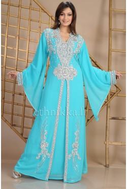 Robe dubaï bleue turquoise