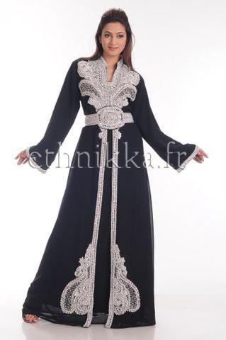 Caftan robe dubaï noir argenté 4b780e9da92