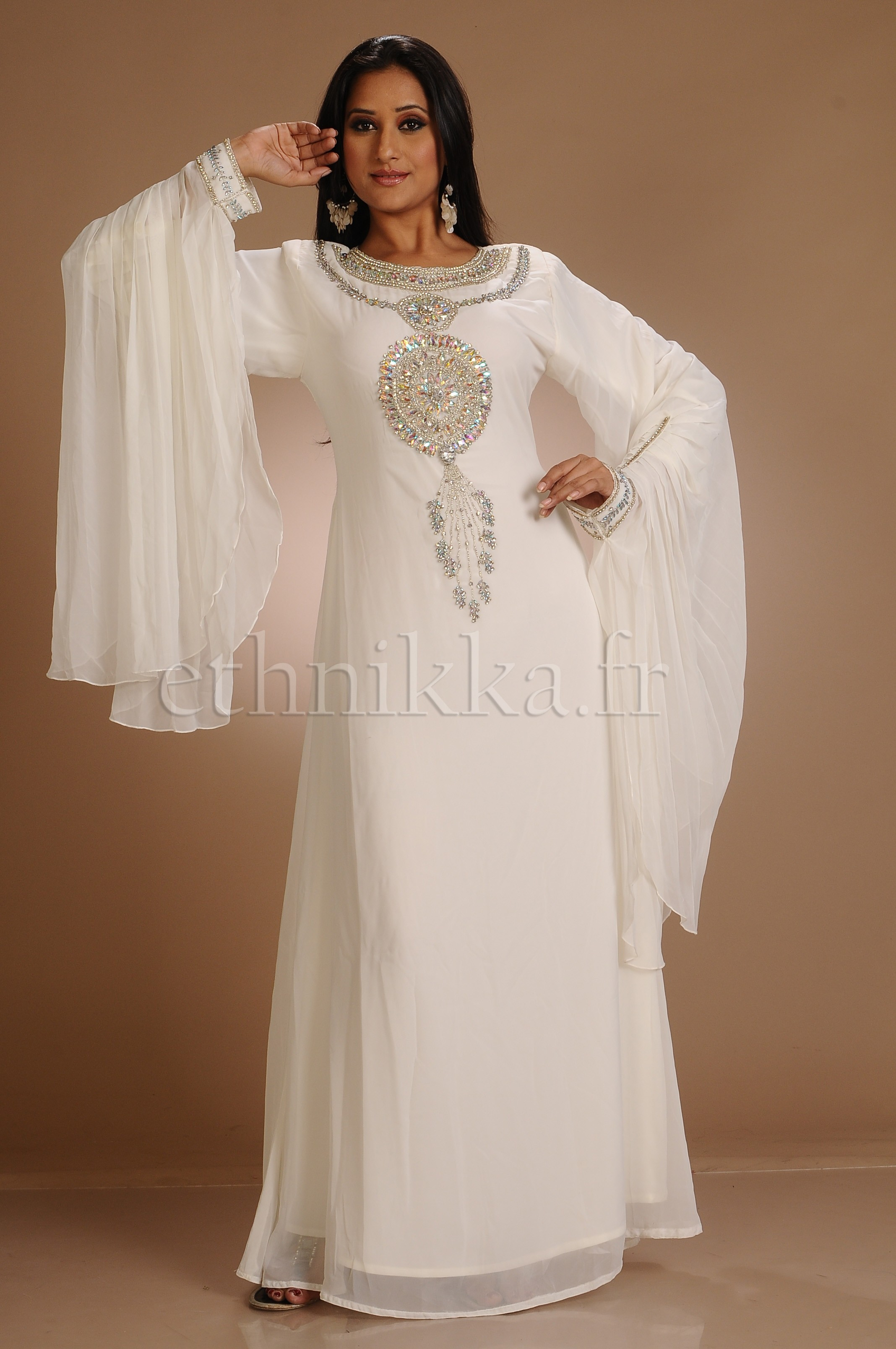 robe orientale dubai blanche - Robes Orientales Mariage