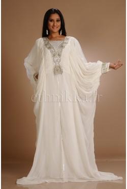 Robe orientale blanche papillon