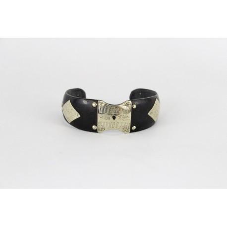 Bracelet touareg en argent et bois ébène noir