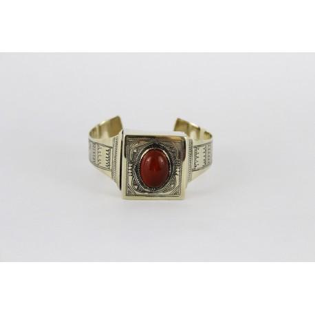 Bracelet en argent touareg perle rouge corail siam