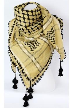 Foulard palestinien Keffieh beige et noir