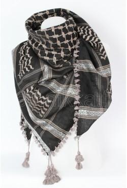 Keffieh noir et mauve havane foulard palestinien