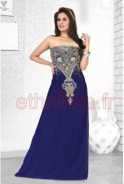 Robe de soirée bleue orientale brodé d'arabesque et de motifs