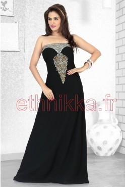 Robe de soirée bustier noir brodé d'arabesque