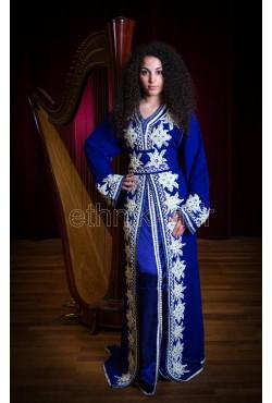 Caftan bleu royal argenté