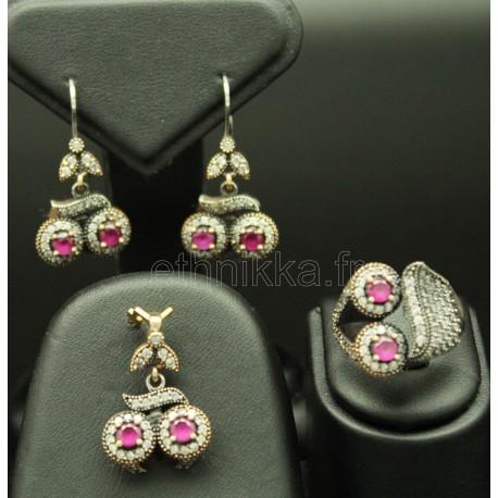 Parure de bijoux en argent de turquie féminine