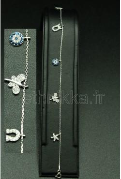 Bracelet élégant pour le poignet ou la cheville - figurines en argent