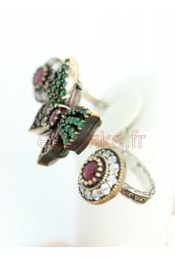 Ensemble bijoux boucles et bague en argent de Turquie