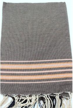 Fouta tissage plat à bandes colorés