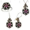 Parure bijoux en argent fleur de Turquie harim soltan