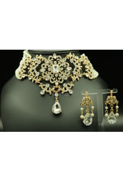 Parure bijoux orientaux perles en plaqué or