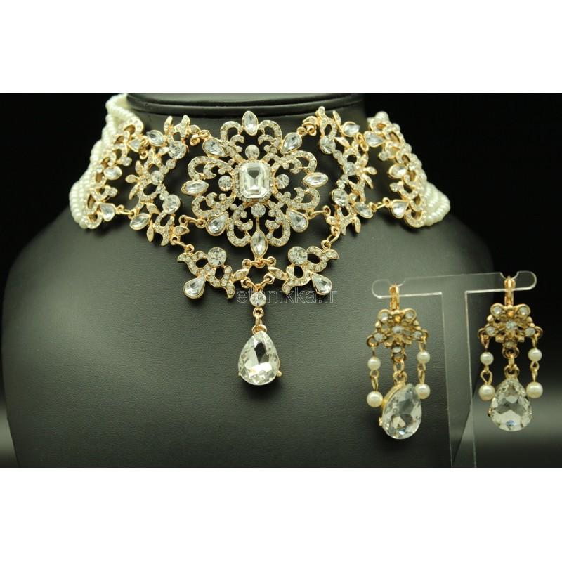 parure bijoux ethniques orientaux en perles et plaqu or. Black Bedroom Furniture Sets. Home Design Ideas