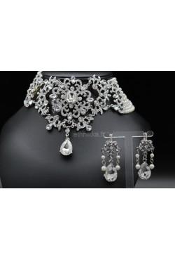Parure bijoux orientaux de perles en plaqué argent