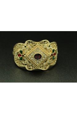 Bracelet turc en plaqué or pierre rouge harim sultan