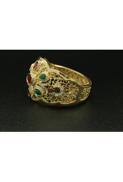Bracelet turc plaqué or pierres rouges et vertes harim sultan