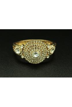 Bracelet turc plaqué or ou argent pierres blanches