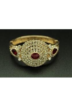 Bracelet turc plaqué or avec pierres rouges et blanches harim sultan