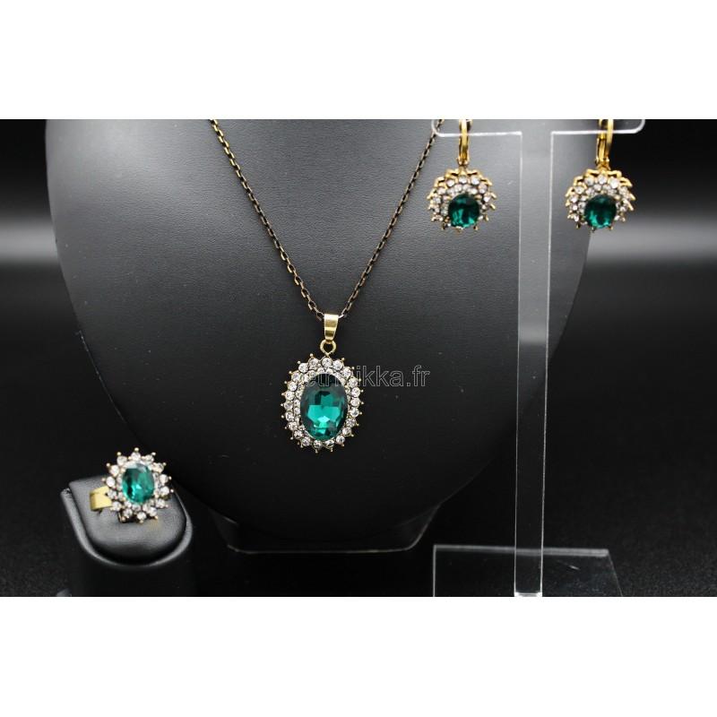 parure bijoux orientaux turcs pierres bleus en plaqu or. Black Bedroom Furniture Sets. Home Design Ideas