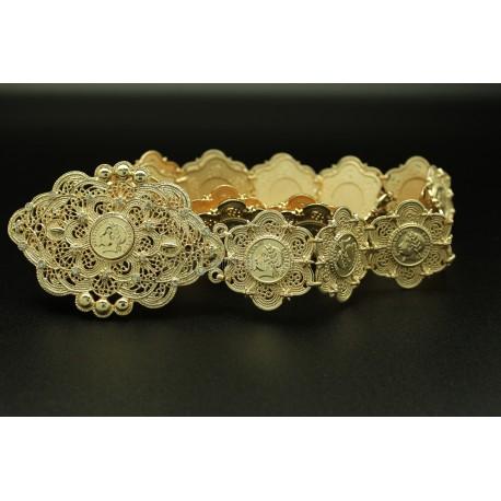 Ceinture fleur plaqué or orientale