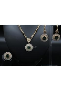 Bijoux orientaux parure verte harim sultan plaqué or