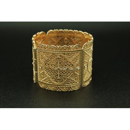 Bracelet en argent plaqué filigranes et pierres rouge - bijou oriental