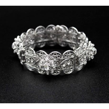 Bracelet plaqué en argent fleurs