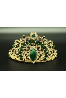 Couronne bijoux de tête en plaqué or sertis de pierres vertes