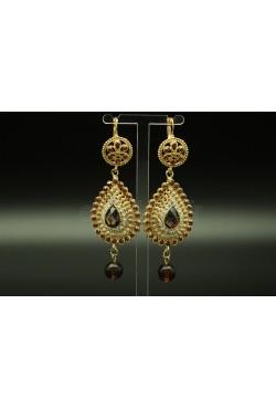 Boucles d'oreilles orientaux en plaqué or orné de pierres