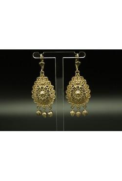 Boucles d'oreilles bijoux orientaux plaqué or filigrane