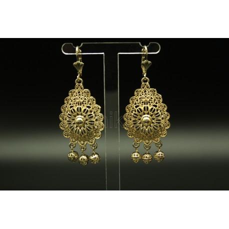Boucles d'oreilles bijou oriental en plaqué or