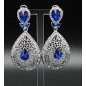 Bijoux orientaux boucles d'oreilles sertis de pierres bleues