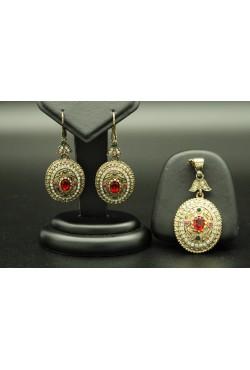 Parure de bijoux turcs couleur bronze ovale sertis de pierres