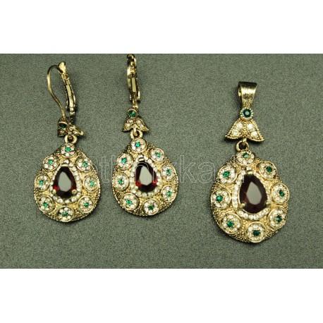 Parure de Turquie bijoux en plaqué or sertis de pierres