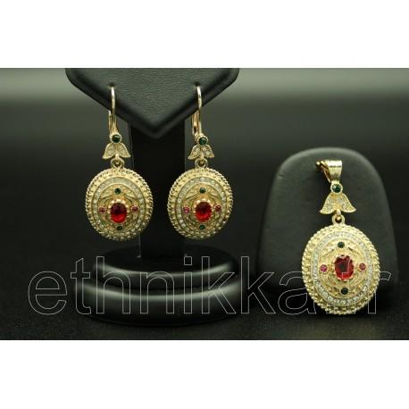 Parure de Turquie en or plaqué ornées de pierres colorés