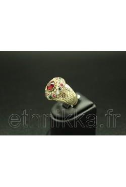 Bague turque en plaqué or serti de pierre