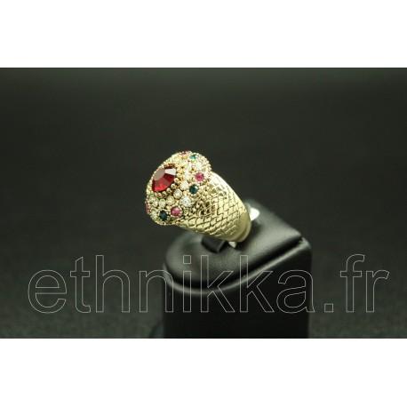 Bague turque en plaqué or sertis de pierres