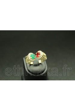 Bijou bague turque pierres couleurs rubis et émeraude