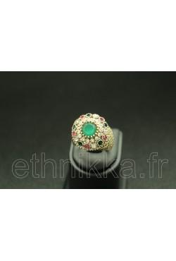 Bague turque ornée de pierres turquoise en plaqué or