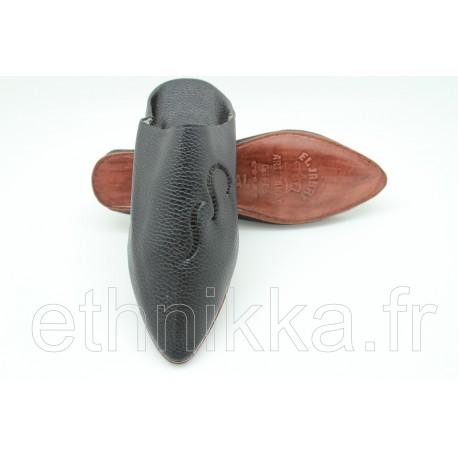 Babouche marocaine dorée confortables en cuir brodés