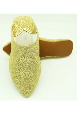 Babouche marocaine femme brodée de fil doré