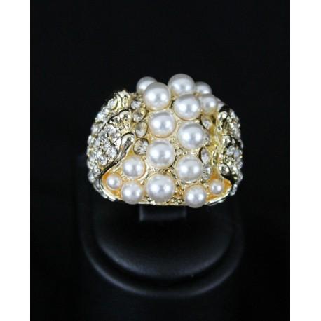 Bague bijou oriental plaqué argent serti de pierres et de perles