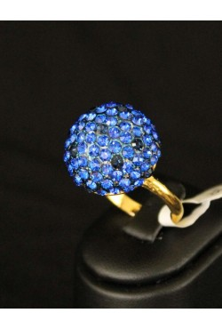 Bague bijou oriental en plaqué or bleue
