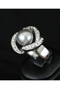 Bague bijou oriental en plaqué argent perle