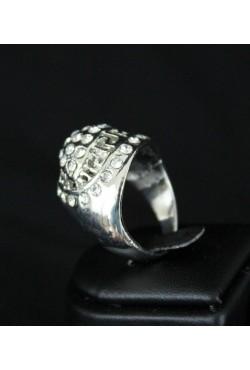Bague bijou orientale en plaqué argent entouré de petites pierres