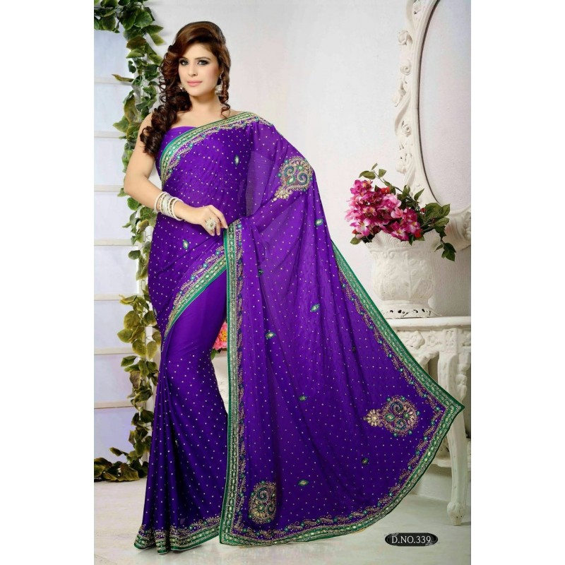 Brodé Sari Robe De Perles Indienne IDE29HW